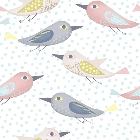 bird flying: Fantastic birds pattern made in pastel colors