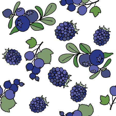 blackberries: Seamless pattern with blackberries, currant and blueberries .