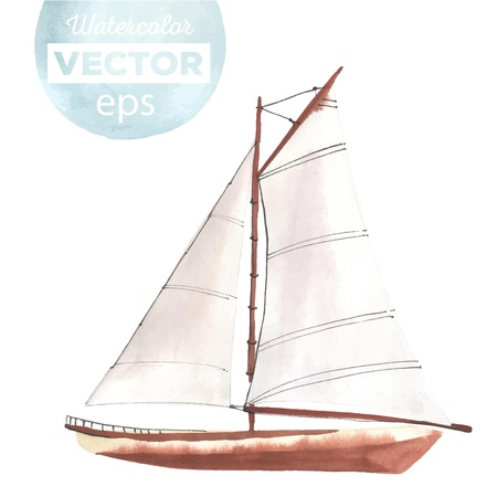 sailboats: Watercolor boat with sails made in the vector. Sport yacht, sailboat. Illustration