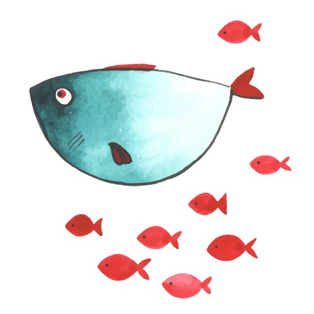 Watercolor funny fishes. All object made in vector. Each one is separately. 矢量图像
