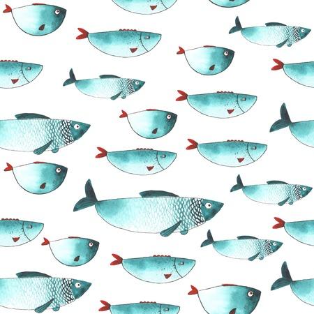 peces: Modelo con la acuarela peces divertidos. Todo objeto hizo en el vector. Cada uno es separado.