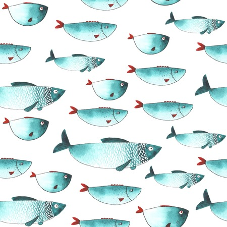 Pattern with Watercolor funny fishes. All object made in vector. Each one is separately. Çizim