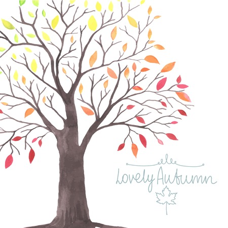 tree landscape: Watercolor Autumn tree with falling down leaves. All object made in vector. Each leaf is separately.