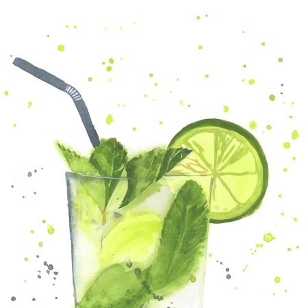 mohito: Hand drawn illustration of Mojito. Watercolor made in vector.