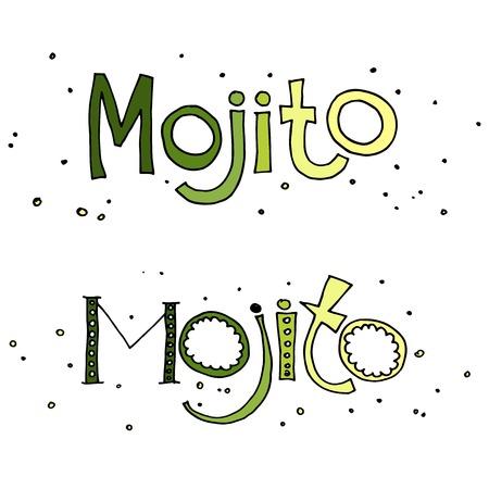 mojito: Hand drawn vector illustration of cocktail mojito