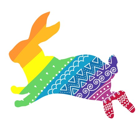 rabbit silhouette: Vector Rainbow rabbit with ornament isolated on whight background