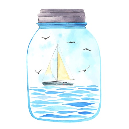 Memories in a jar. Watercolor sea, sailboat and seagulls  inside.  All object made in vector. Each one is separately. Illustration