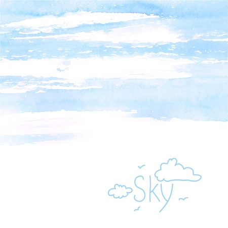 Hand painted watercolor sky background made in vector.