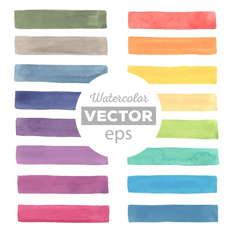 Watercolor rainbow stripes. All object made in vector. Each one is separately. Çizim