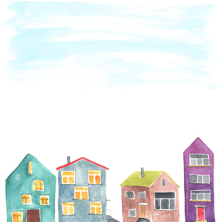 small town life: Copyspace frame with the different houses. Watercolor. Stock Photo