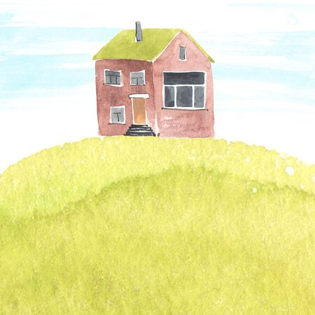 casa de campo: Ilustración de la acuarela con la casa vieja en una hierba. Copyspace.