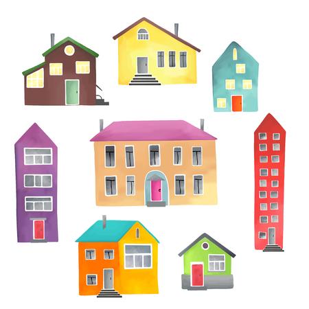 convivencia escolar: Ilustraci�n vectorial de las diferentes casas sobre un fondo blanco. Vectores