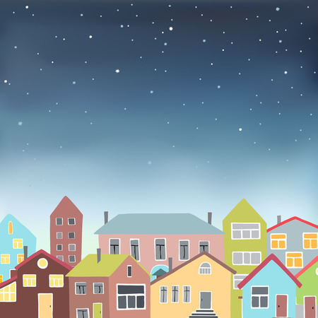 city skyline night: Vector illustration in eps 10 format of an urban night scene with colored buildings under a starry sky. Illustration