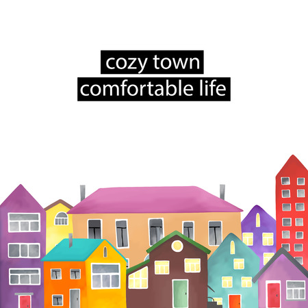 architecture bungalow: Copyspace frame with the different houses.  Vector illustration