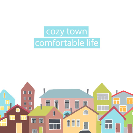 small town life: Copyspace frame with the different houses.  Vector illustration