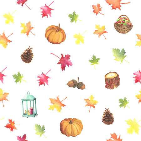 acorn: Watercolor autumn pattern with colorful leaves of maple and wicker basket with apples, lantern with a candle, pumkin, acorn and pine cone