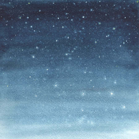 blue stars: Hand painted watercolor illustration of a starry sky. Stock Photo