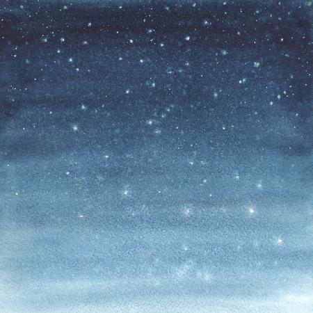 noche estrellada: Pintado a mano ejemplo de la acuarela de un cielo estrellado.