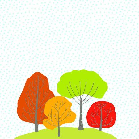 orange trees: Group of green, orange, red and yellow autumn trees
