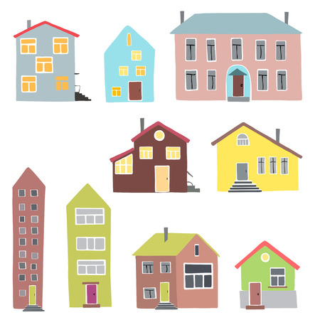 Vector illustration of the different houses on a white background.