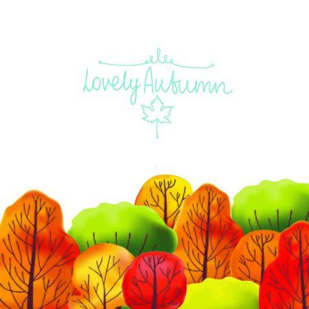 bush mesh: Autumn backgroundof wwth green, orange, red and yellow trees. Vector illustration