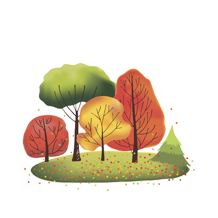bush mesh: Group of green, orange, red and yellow autumn trees. Blue sky background.