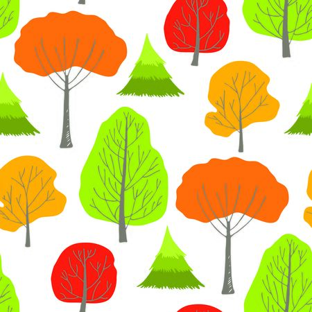 orange trees: Seamless pattern with green, orange, red and yellow autumn trees