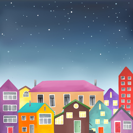 bungalow: Vector illustration in eps 10 format of an urban night scene with colored buildings under a starry sky. Illustration