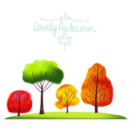orange trees: Group of green, orange, red and yellow autumn trees. Illustration