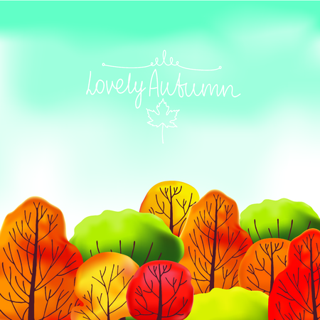 bush mesh: Autumn backgroundof wwth green, orange, red and yellow trees and blue sky. Illustration