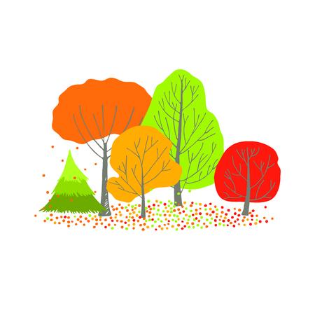 orange trees: Group of green, orange, red and yellow autumn trees. Stock Photo