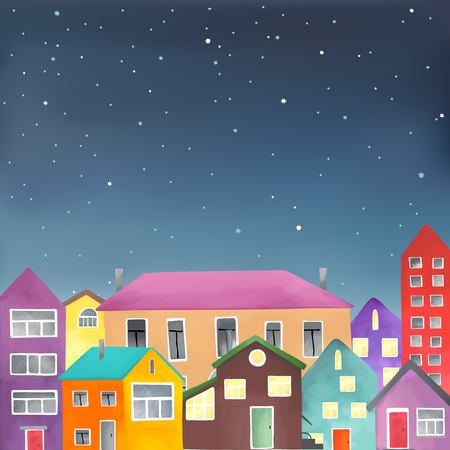 city at night: Vector illustration in format of an urban night scene with colored buildings under a starry sky. Illustration