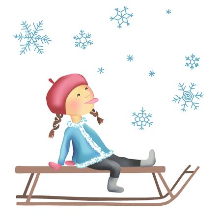 girl tongue: Cheerful winter illustration of  Little girl on the sled. Snowflakes. Let It Snow