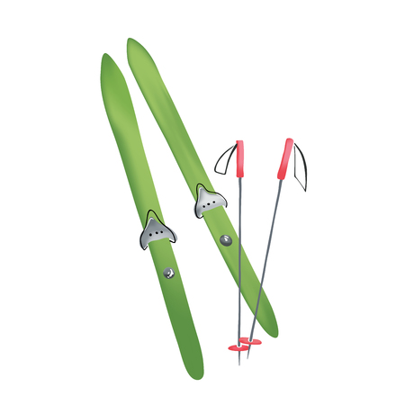 bindings: Vector illustration of a cross country old fashioned skis with classic cable bindings and ski poles
