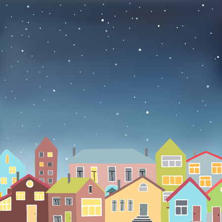 night school: Vector illustration in format of an urban night scene with colored buildings under a starry sky. Illustration