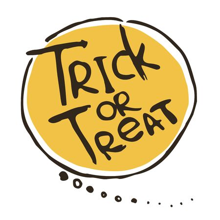tratar: Trick or treat phrase in a bubble