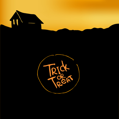 trick or treat: Halloween background with silhouette of hut. Trick or treat.