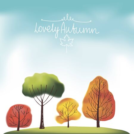 orange trees: Group of green, orange, red and yellow autumn trees on sky background Illustration