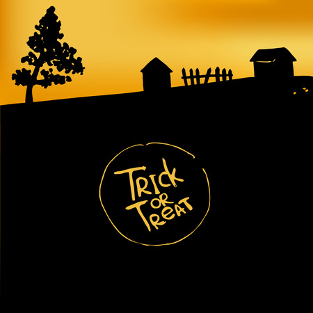 paling: Halloween background with silhouette of huts and paling. Trick or treat.