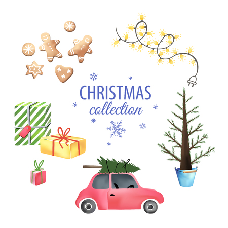 Set of colorful christmas elements and decorations. Christmas graphic elements, vector illustration for greeting cards, scrapbooking elements Ilustracja