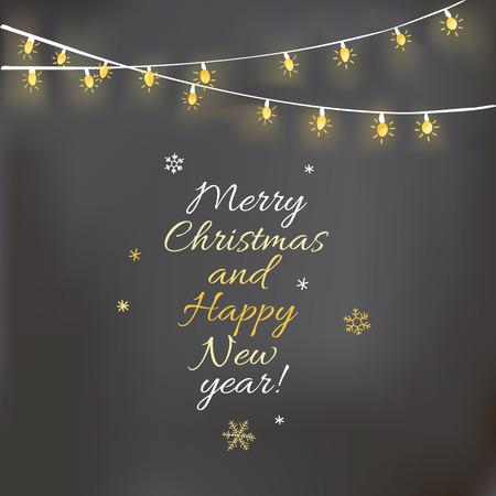 Progettazione di Natale con la luce ghirlanda e lavagna. Archivio Fotografico - 46755479