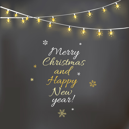 Christmas design with light garland and chalkboard.