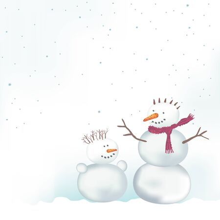 xmax: Christmas vector card with snowmen. Place for text.