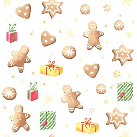 cookies: Christmas vector pattern with gingerbreads and gifts.