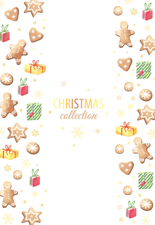 box template: Christmas vector cards with gingerbreads and gifts.