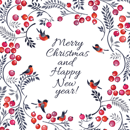ashberry: Christmas card with branch and bullfinches on on white background