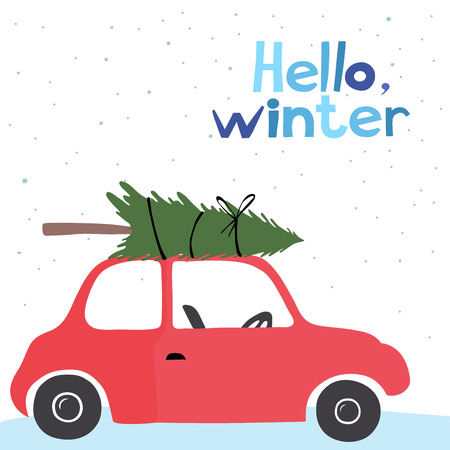 winter car: Winter vector card with a little red vintage car carrying a Christmas tree on top.