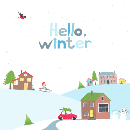 snowcovered: Vector greeting card with a view of the snow-covered village.