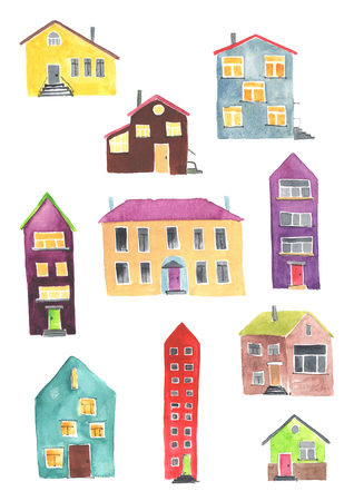 hand painted: Illustration of the different houses on a white background. Watercolor.