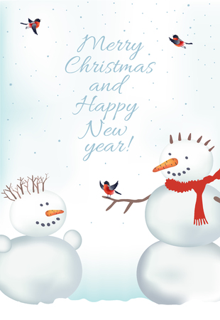 xmax: Christmas vector card with snowmen and bullfinch, Illustration